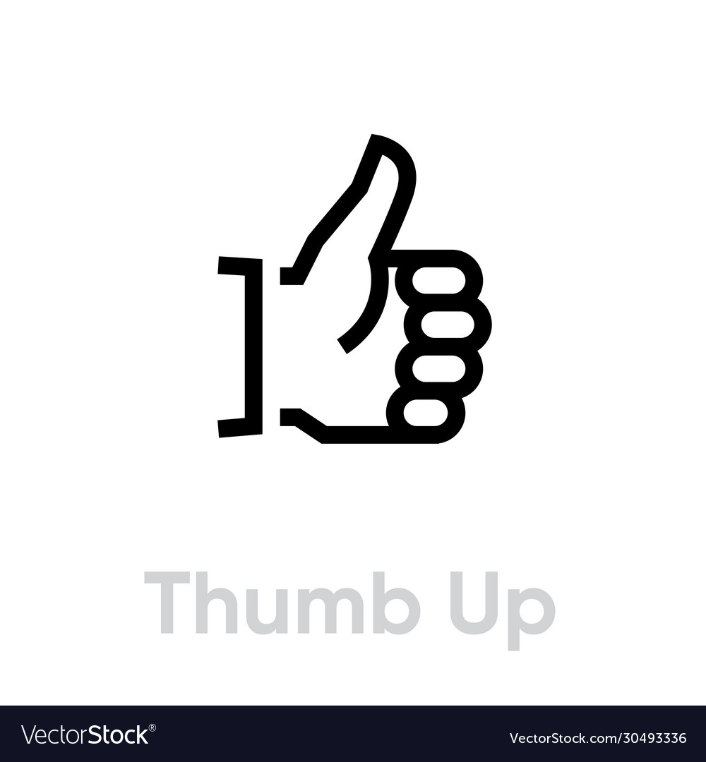 Thumb up icon editable outline