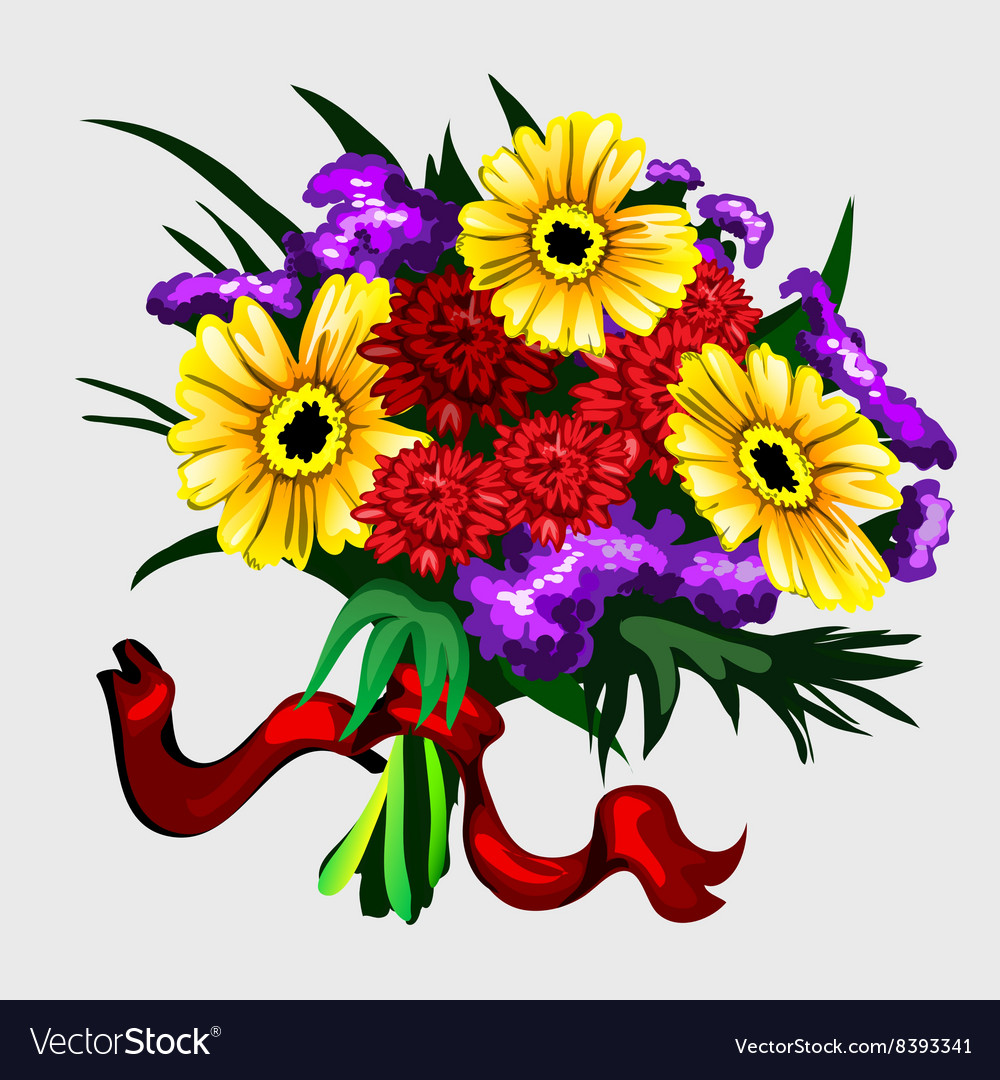 Bouquet of yellow red and purple flowers vector image