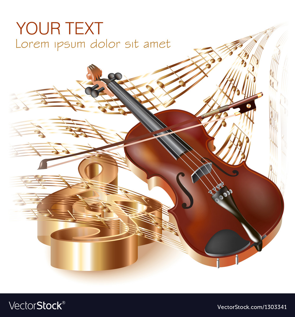Classical violin on musical notes background
