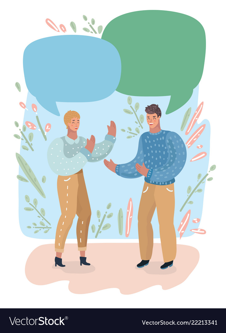 Couple having conversation on empty speech bubble