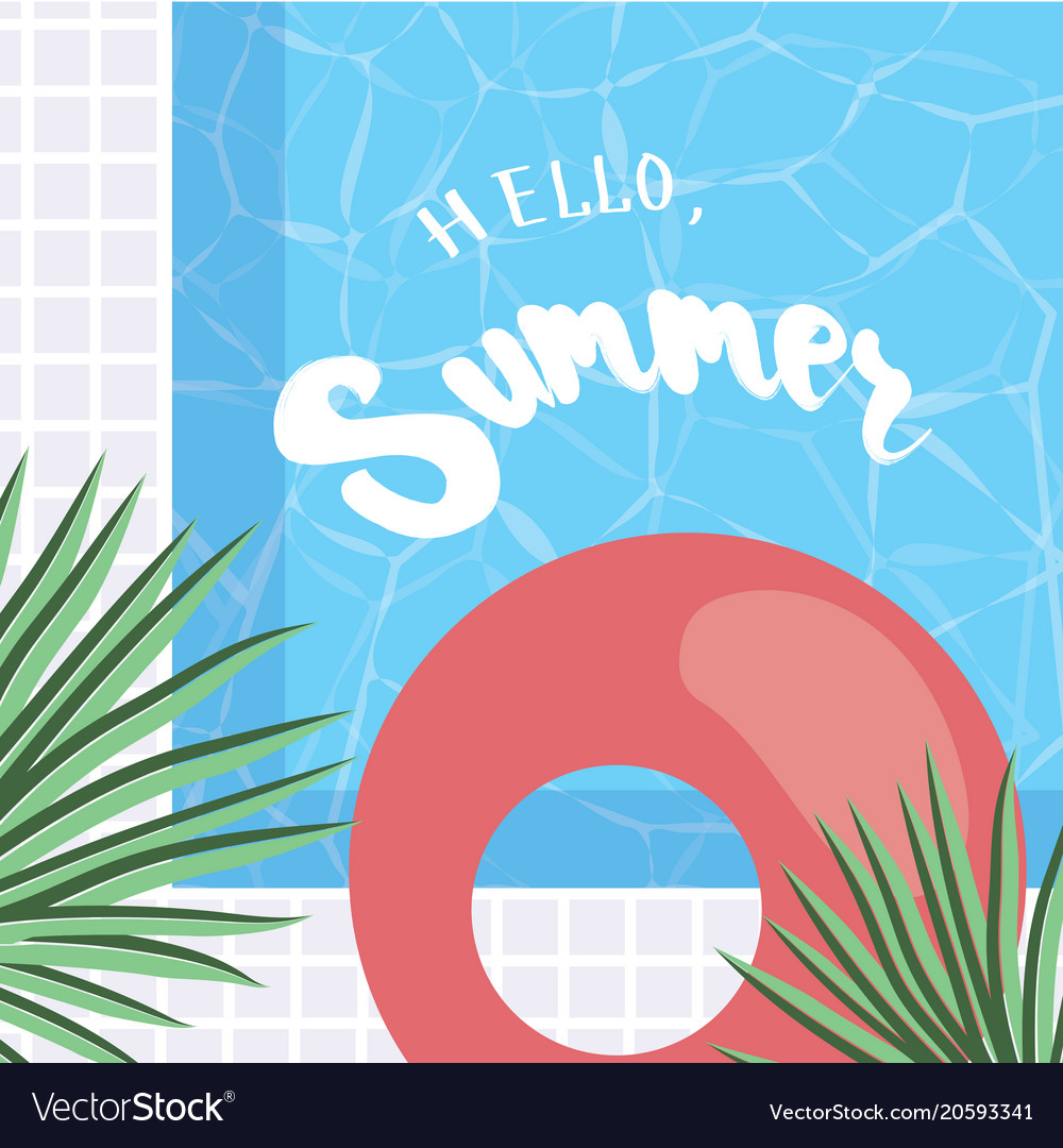 Elegant Hello Summer Holiday Greeting Card With Vector Image