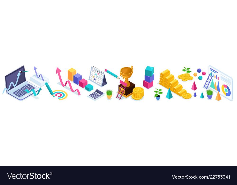 Isometrics set of business icons diagram