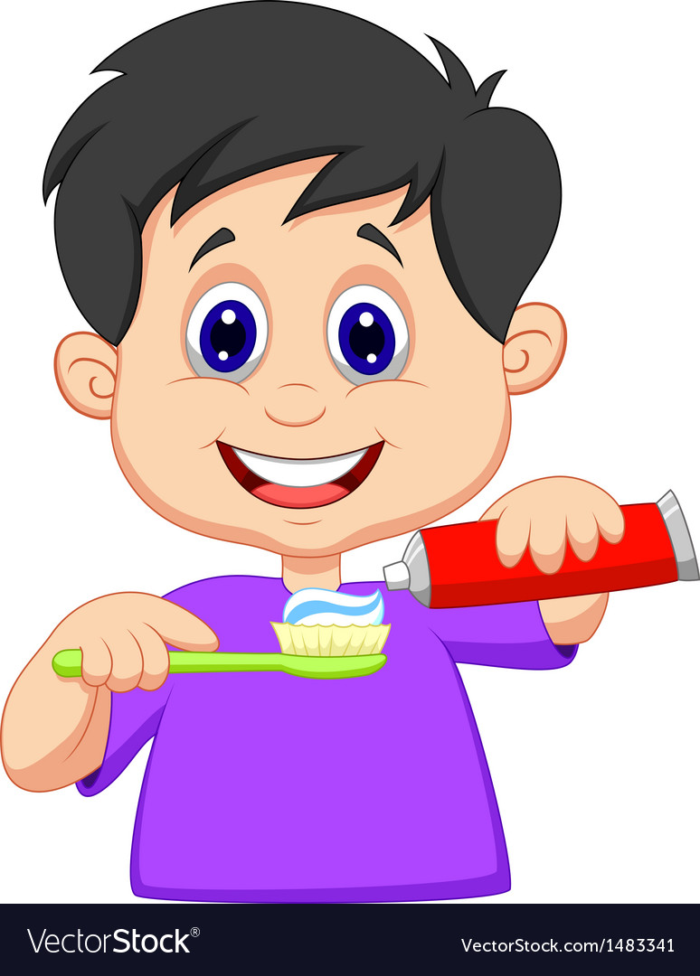 Kid cartoon squeezing tooth paste on a toothbrush vector image