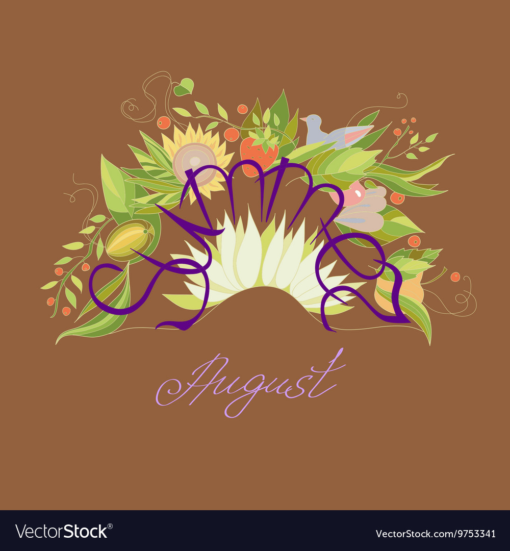 Lettering Summer August with leaves flowers