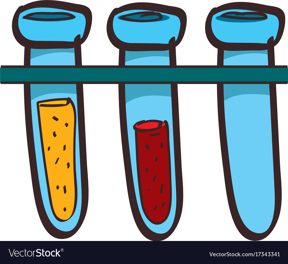 Medical test tubes colored in hand drawing style