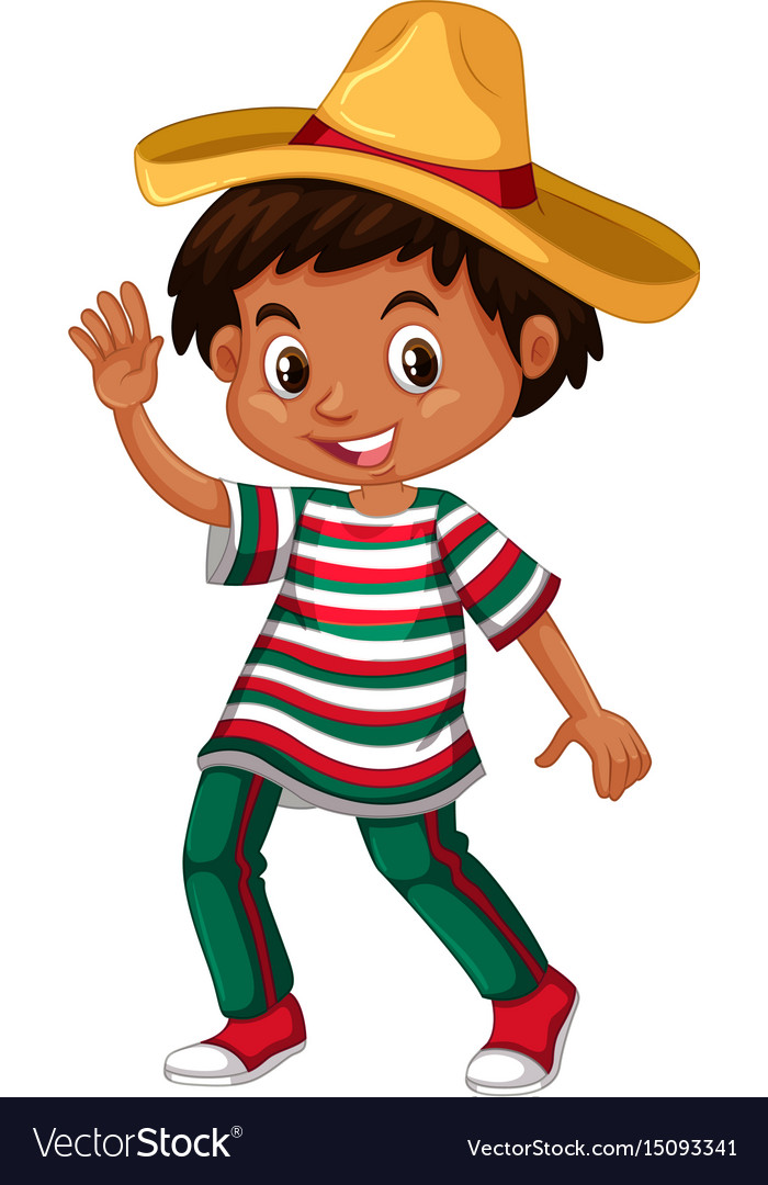 mexican boy in traditional outfit royalty free vector image