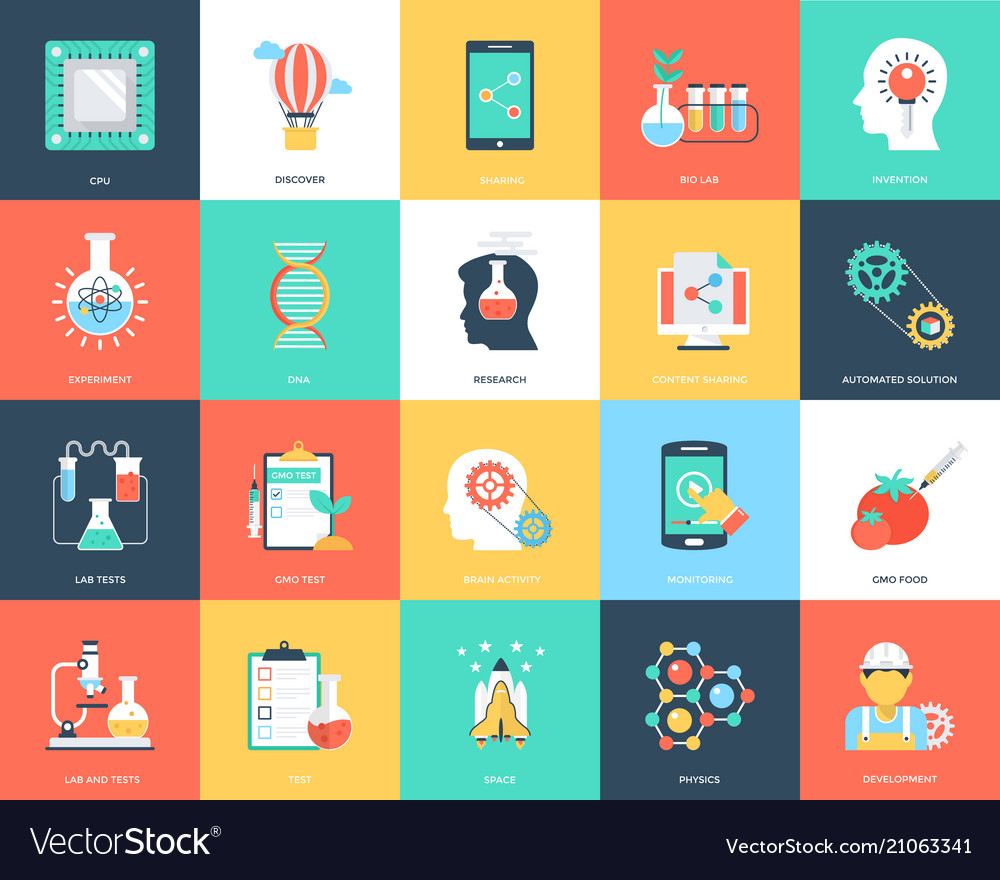 Science and technology flat icons set