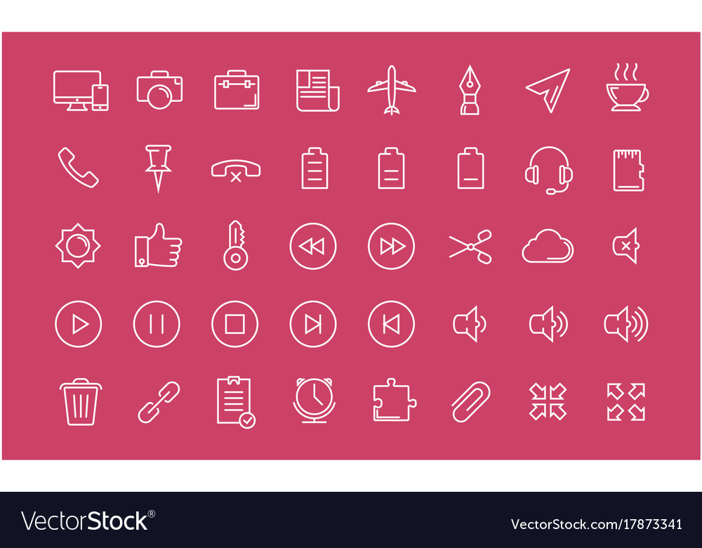 Set flat line icons mobile design