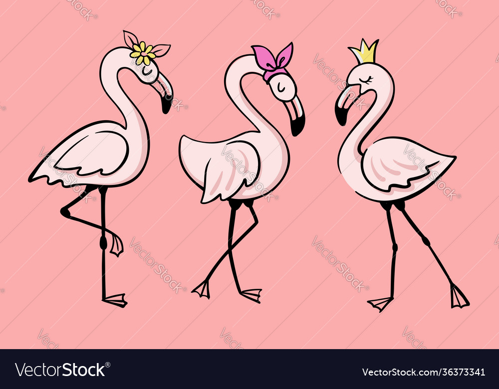 Three pink glamorous flamingos stand
