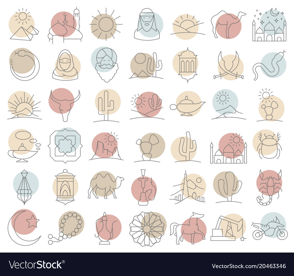 Arabian desert icon set