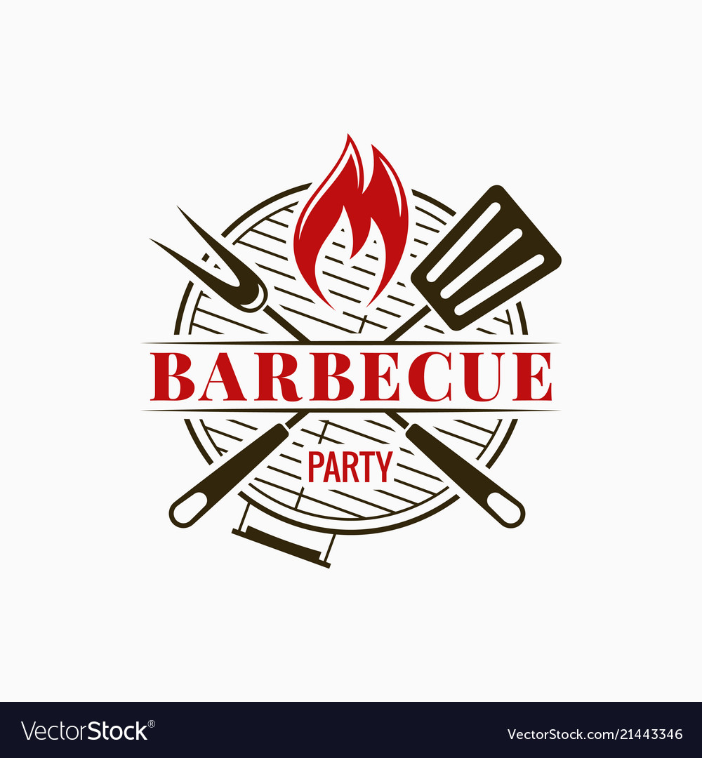 Barbecue grill logo bbq party with fire flame on