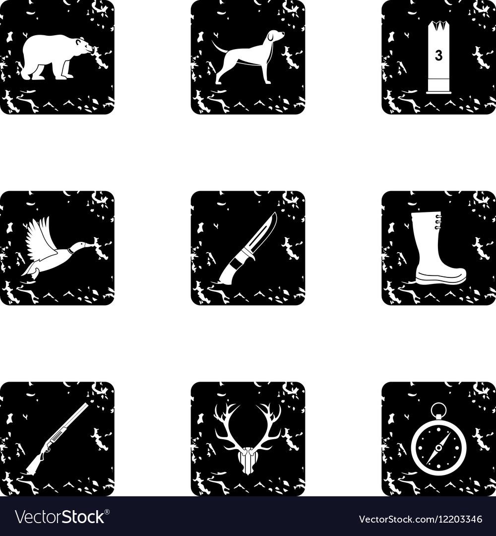 Bird hunting icons set grunge style