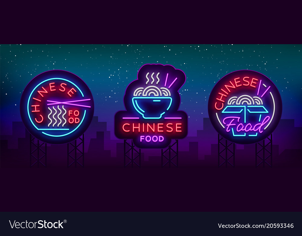 Chinese food set of logos collection neon sign