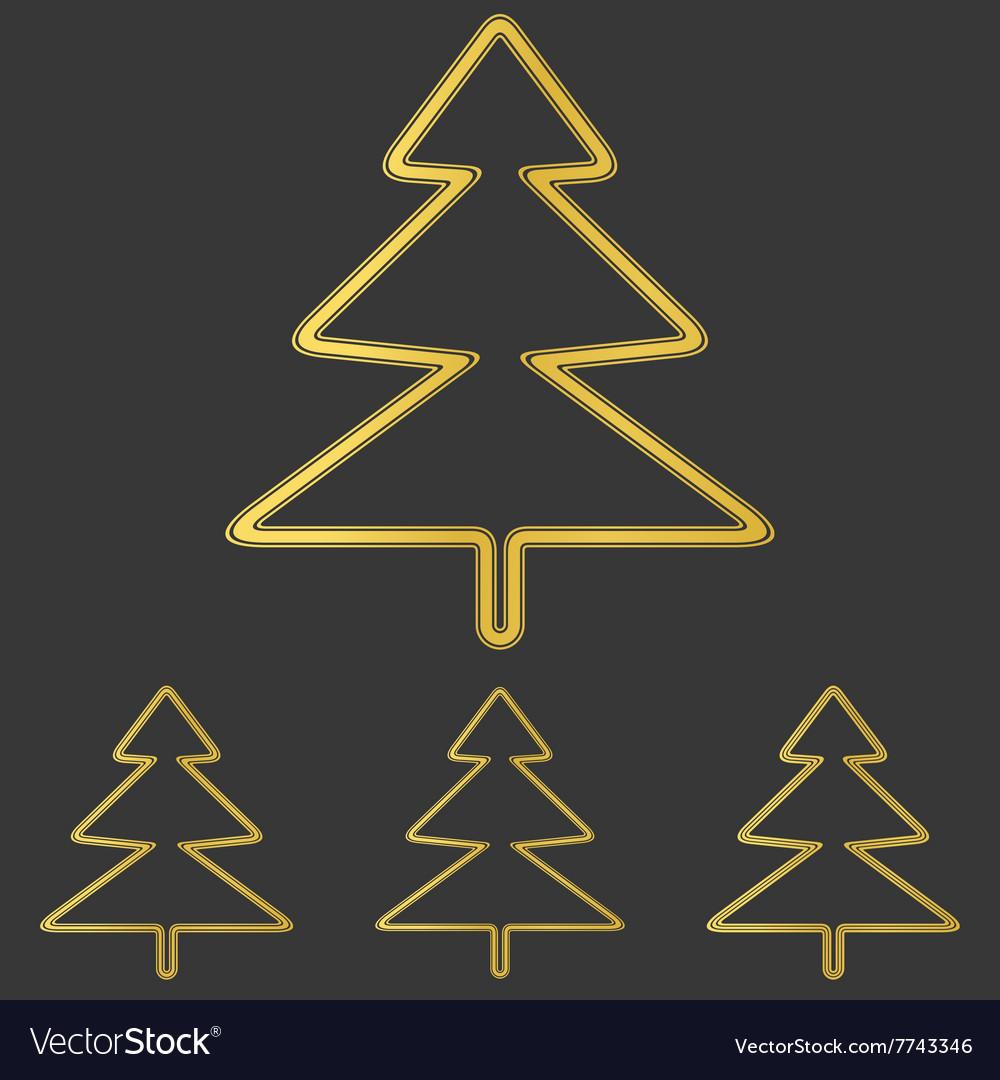 golden pine tree logo design set royalty free vector image