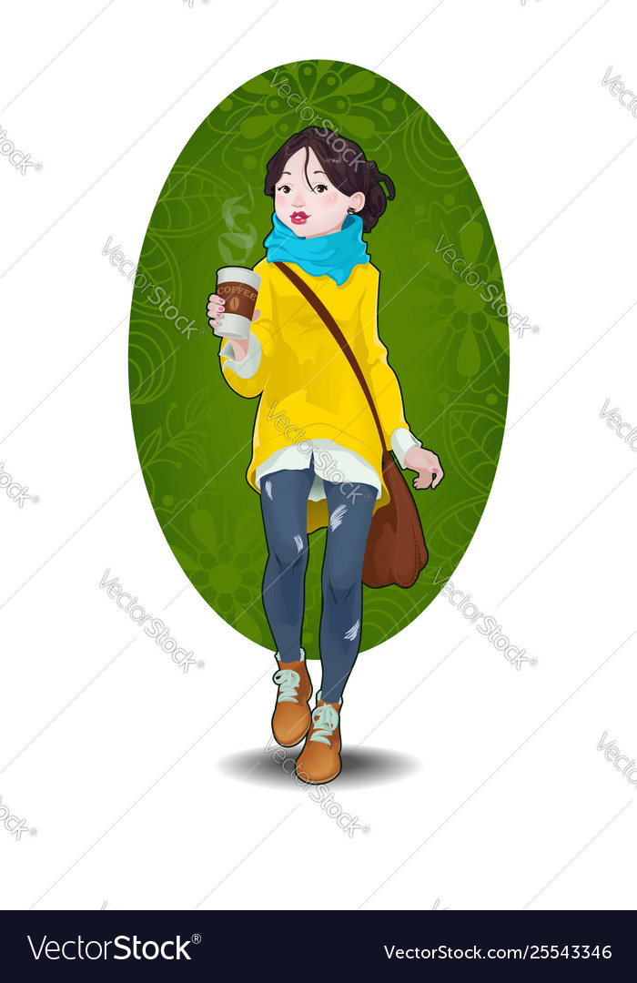 Hipster girl and cup coffee to go
