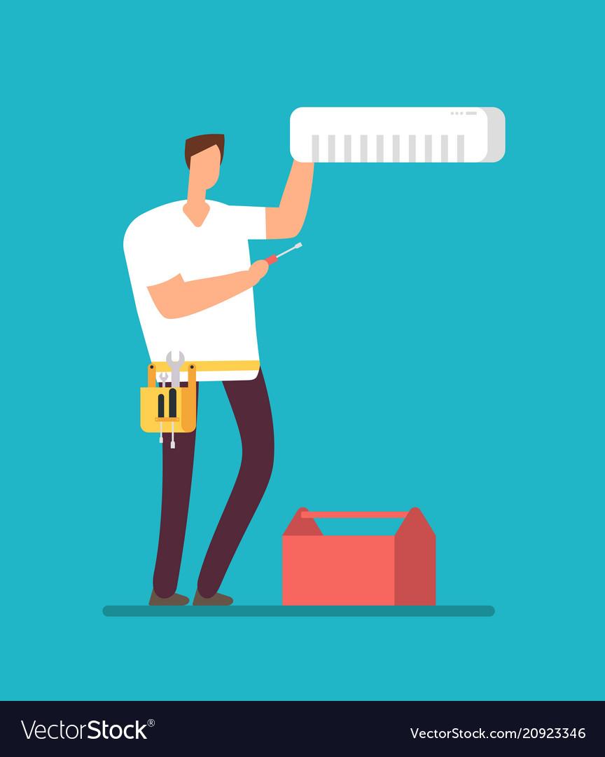 Professional repairman installing air conditioner