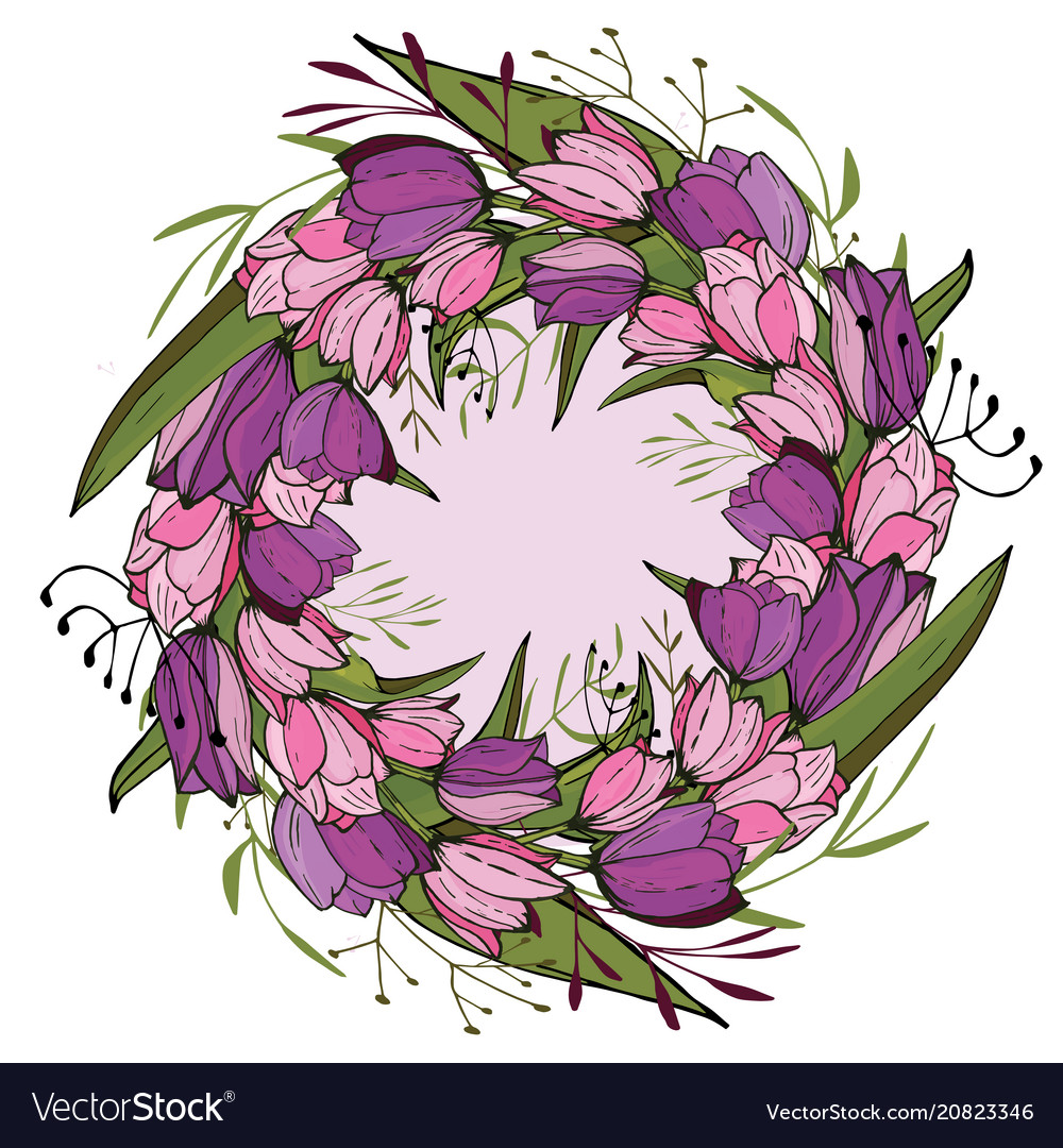 Round frame with tulips and herbs on white floral