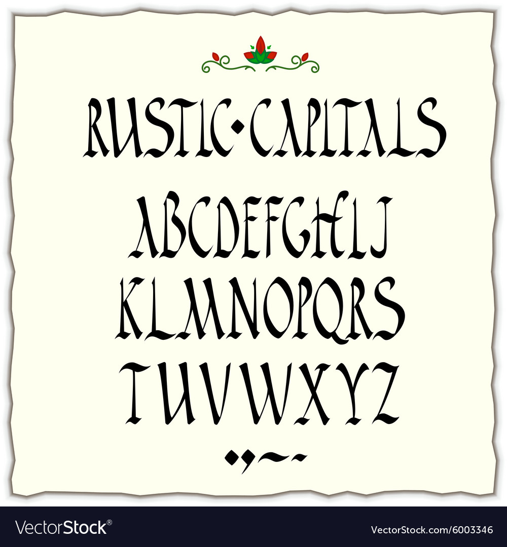 Rustic Capitals Style Alphabet Vector Image