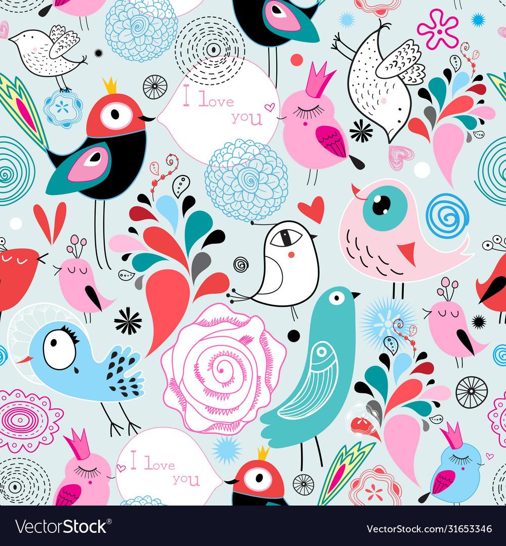 Seamless bright multi-colored pattern birds in