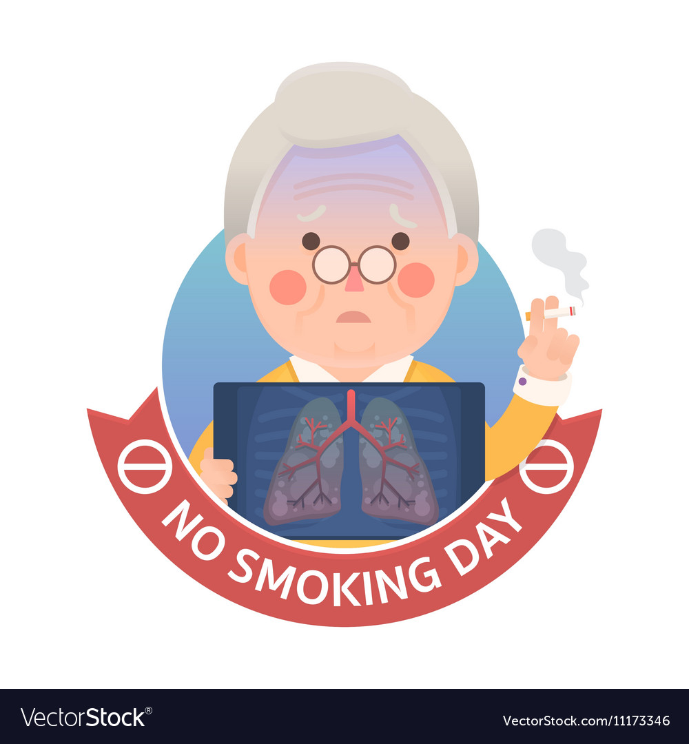 Smoking Lung Problem with No Smoking Day Sign vector image