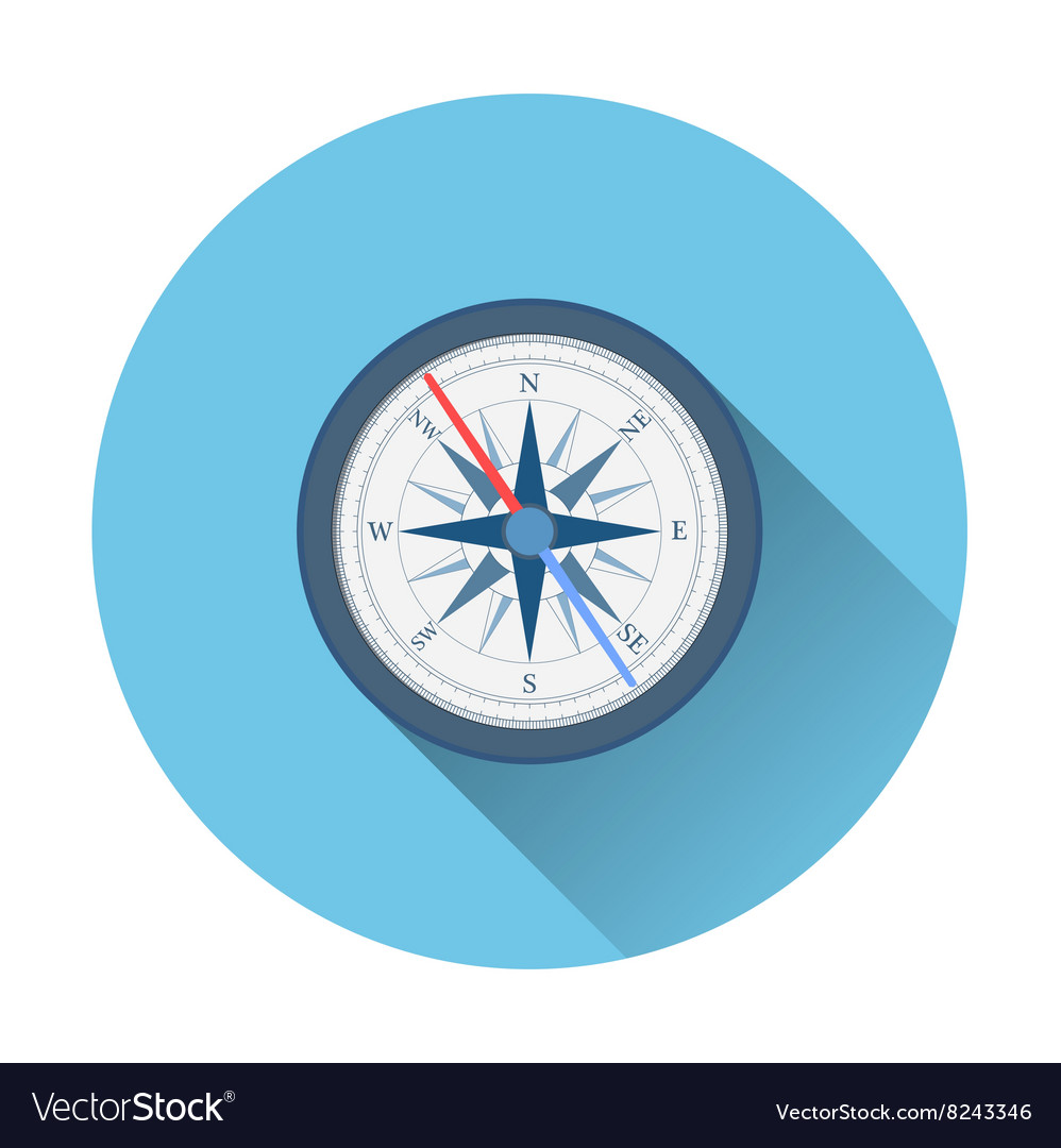 Stylish flat design white Compass Icon vector image