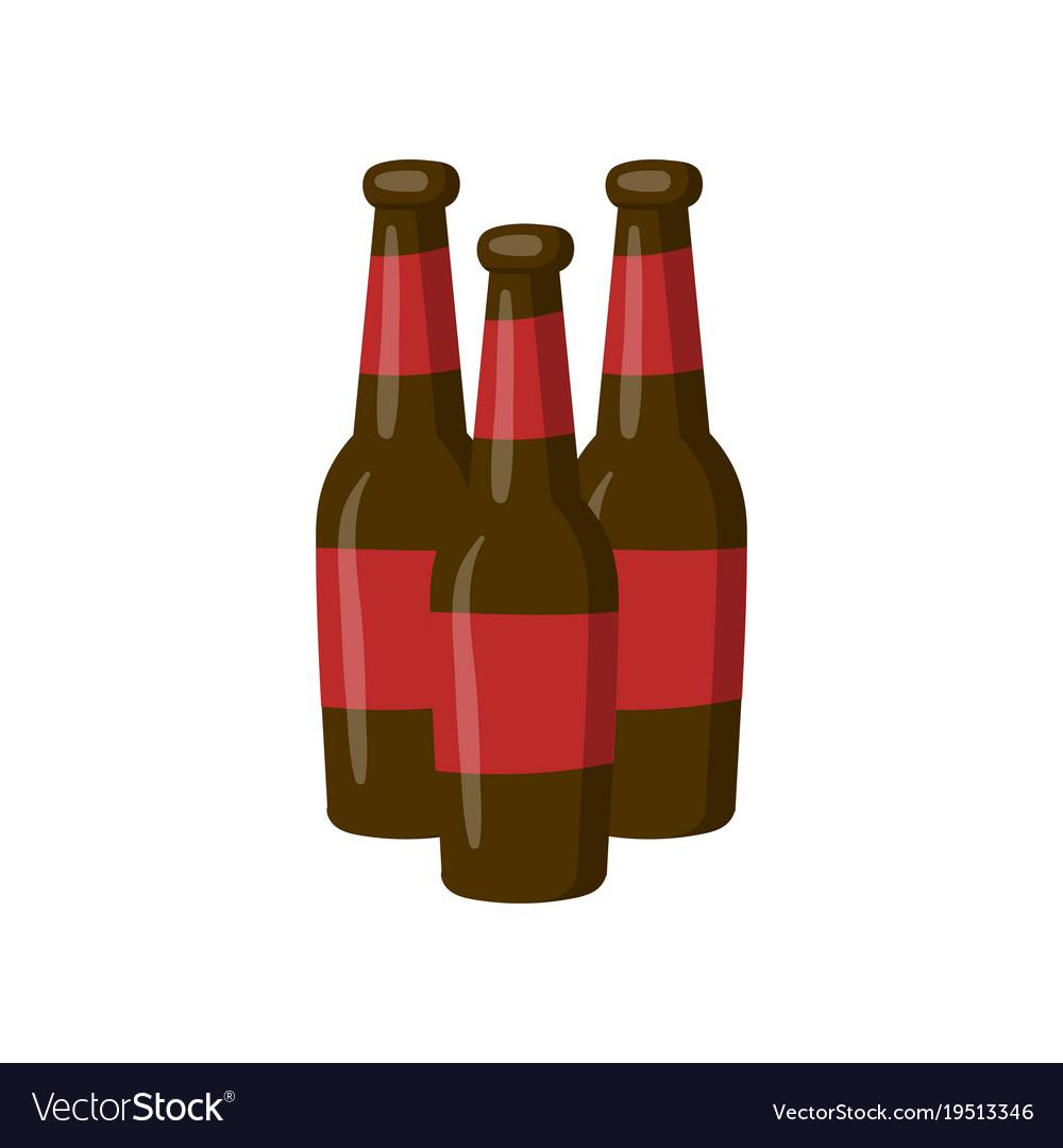 three bottles of beer cartoon royalty free vector image rh vectorstock com cartoon pictures beer bottles cartoon broken beer bottle