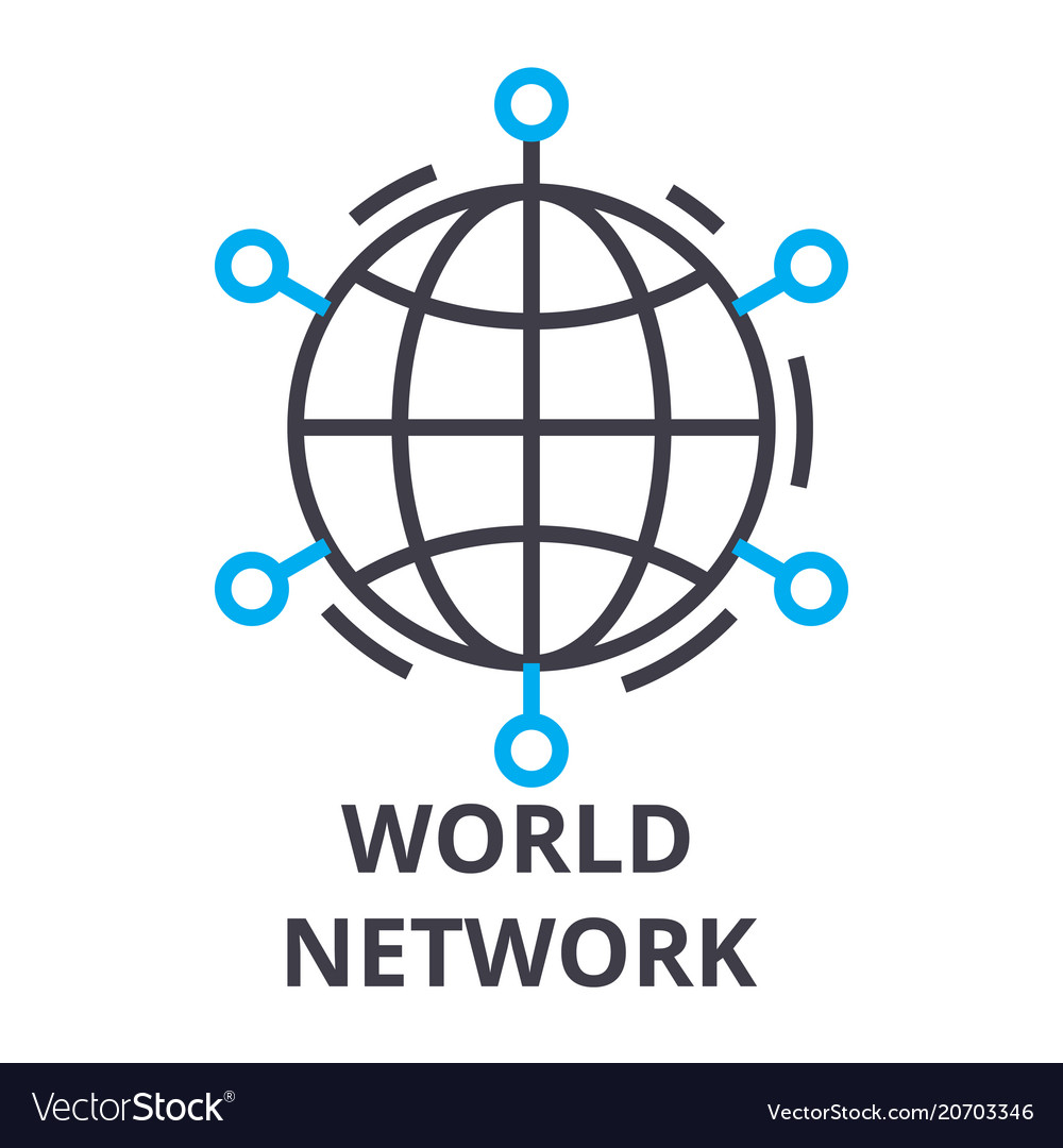 World network thin line icon sign symbol
