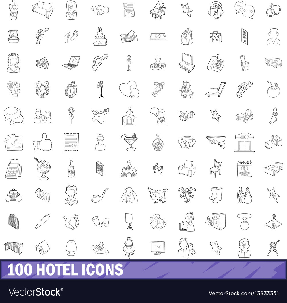 100 hotel icons set outline style