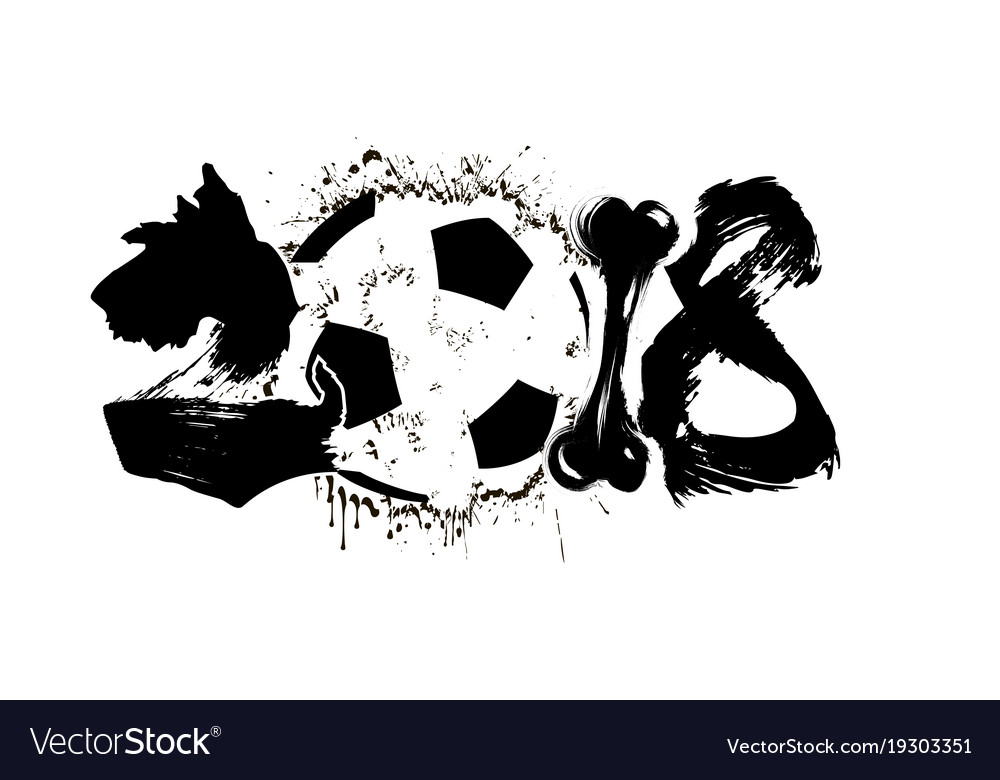 Abstract number 2018 dog and soccer ball