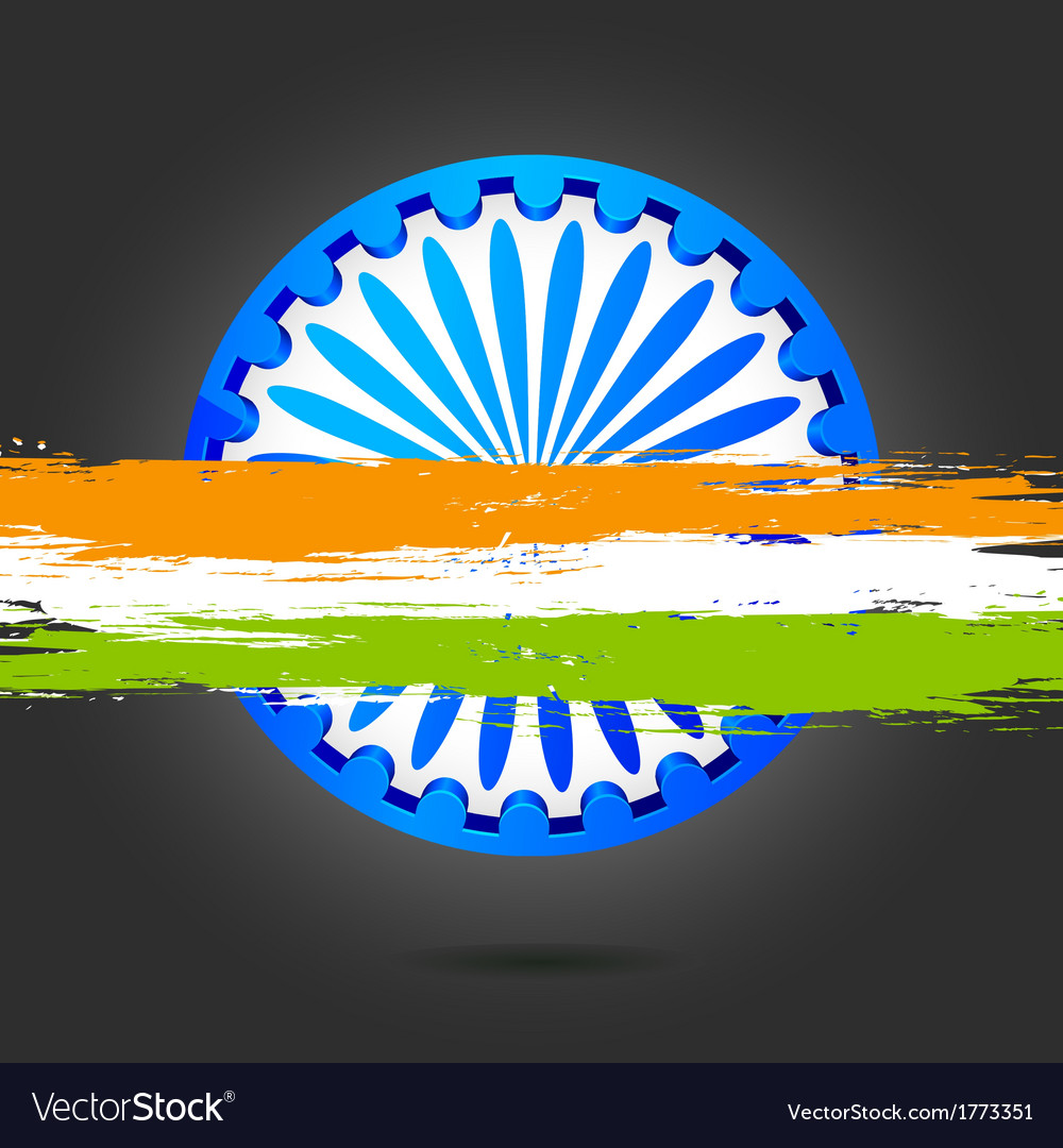Ashok Chakra with Grungy India tricolor vector image