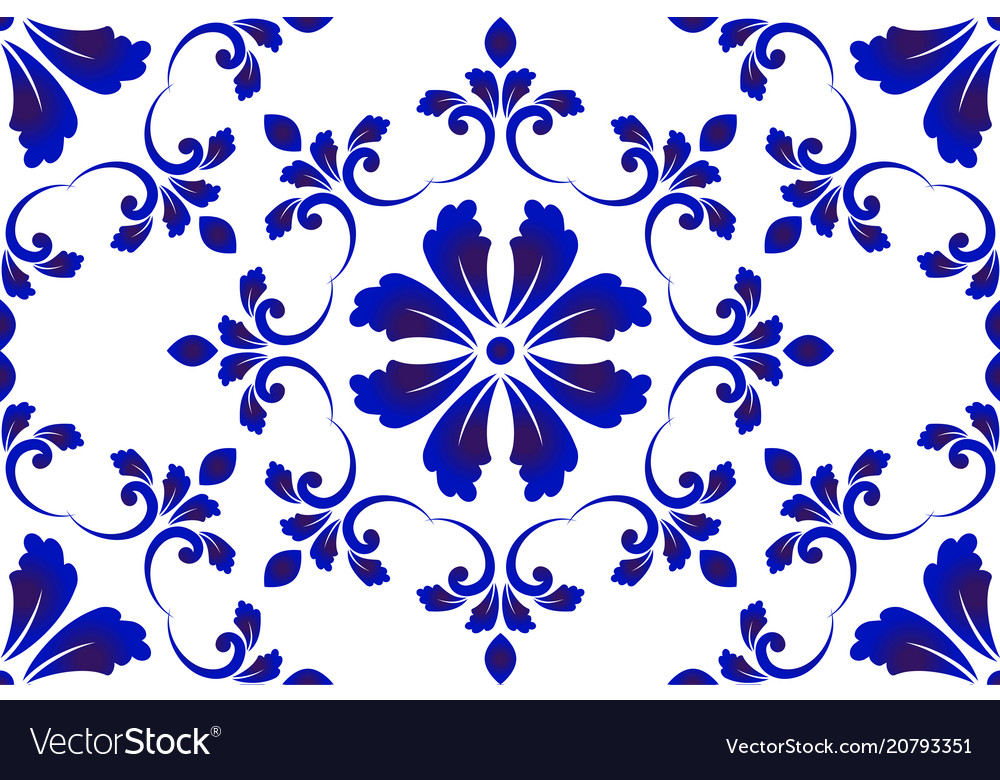 Blue and white decorative pattern vector image