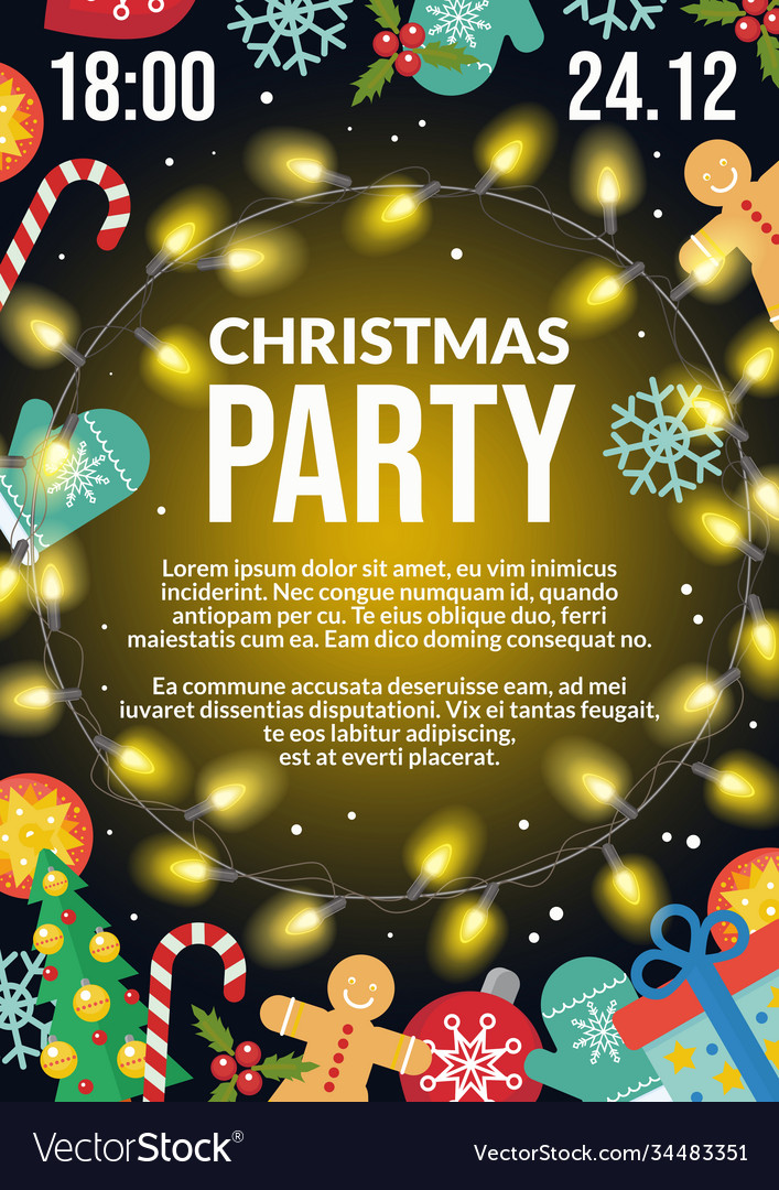 Christmas party flyer poster invitation holiday