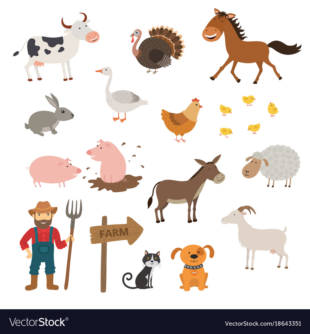 Cute farm animals set in flat style isolated on