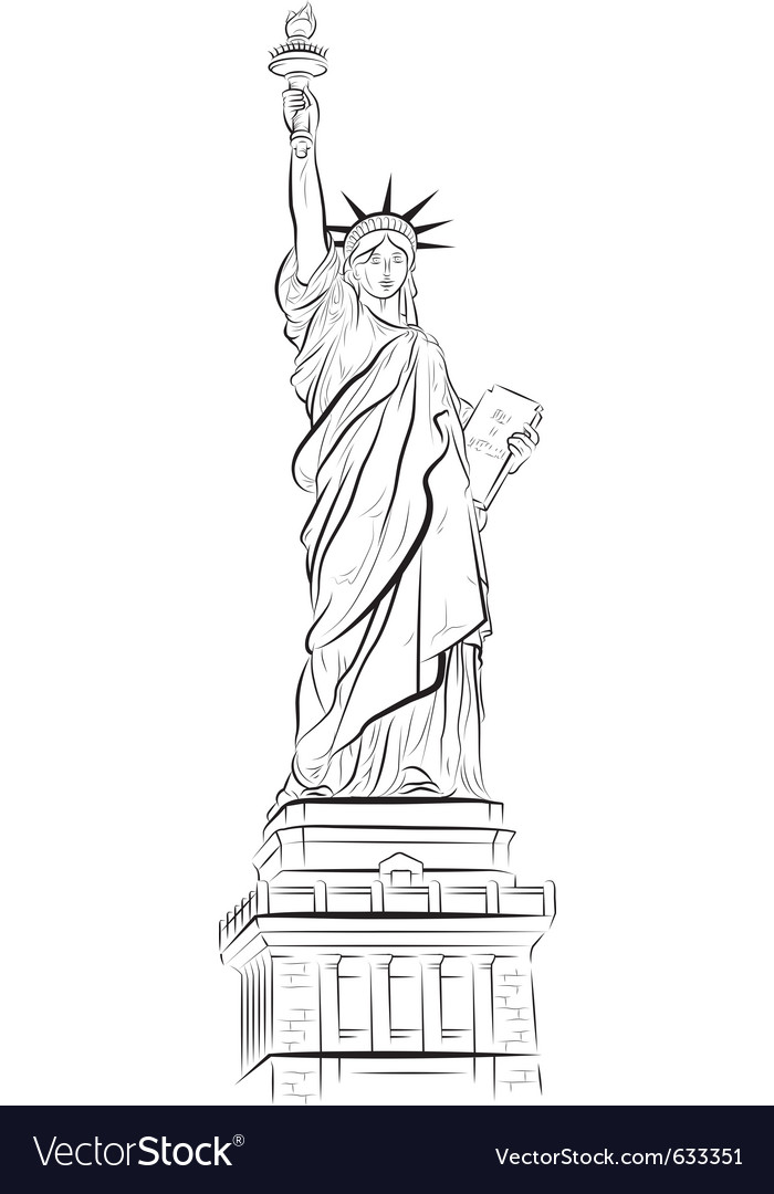 Drawing statue of liberty in new york usa vector image