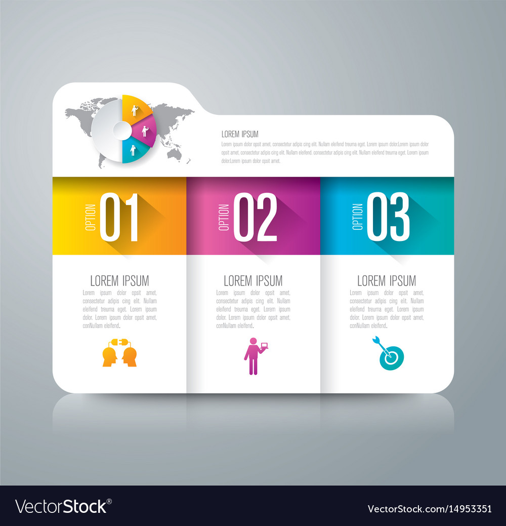 Folder infographics design with 3 options