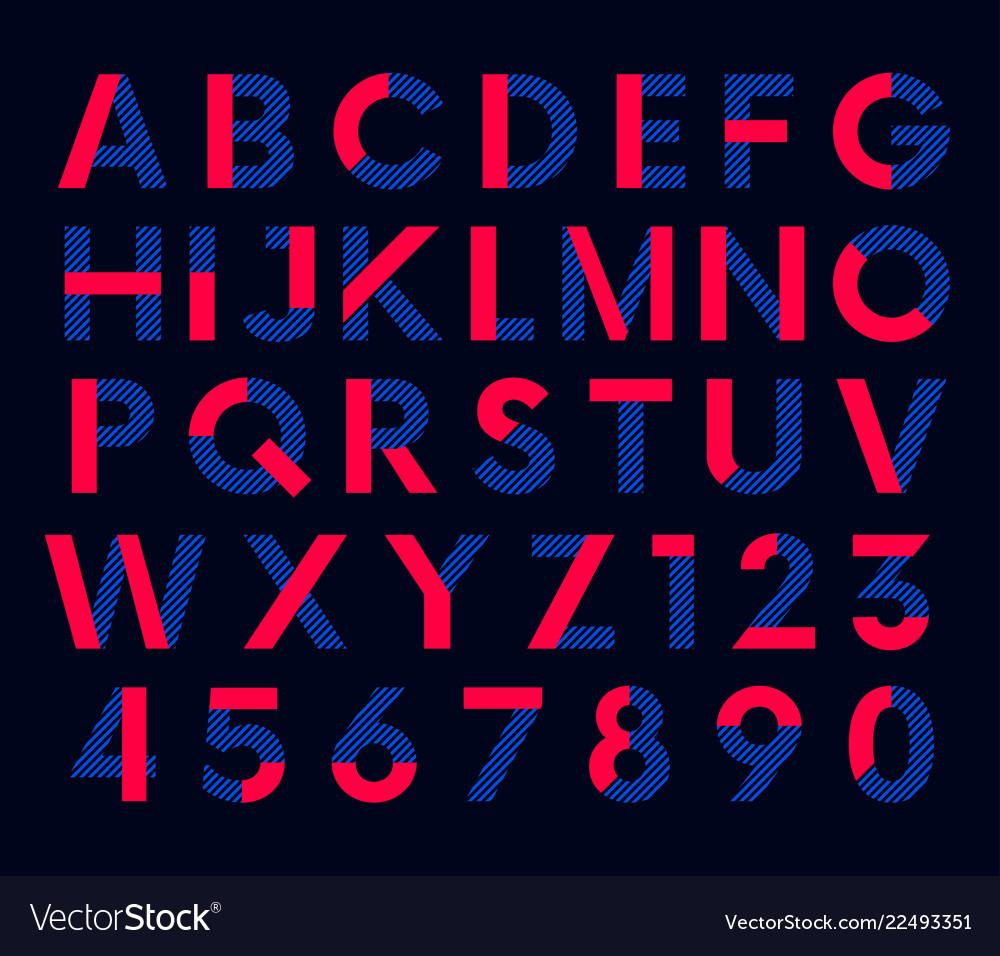 Geometric decorative colored font alphabet
