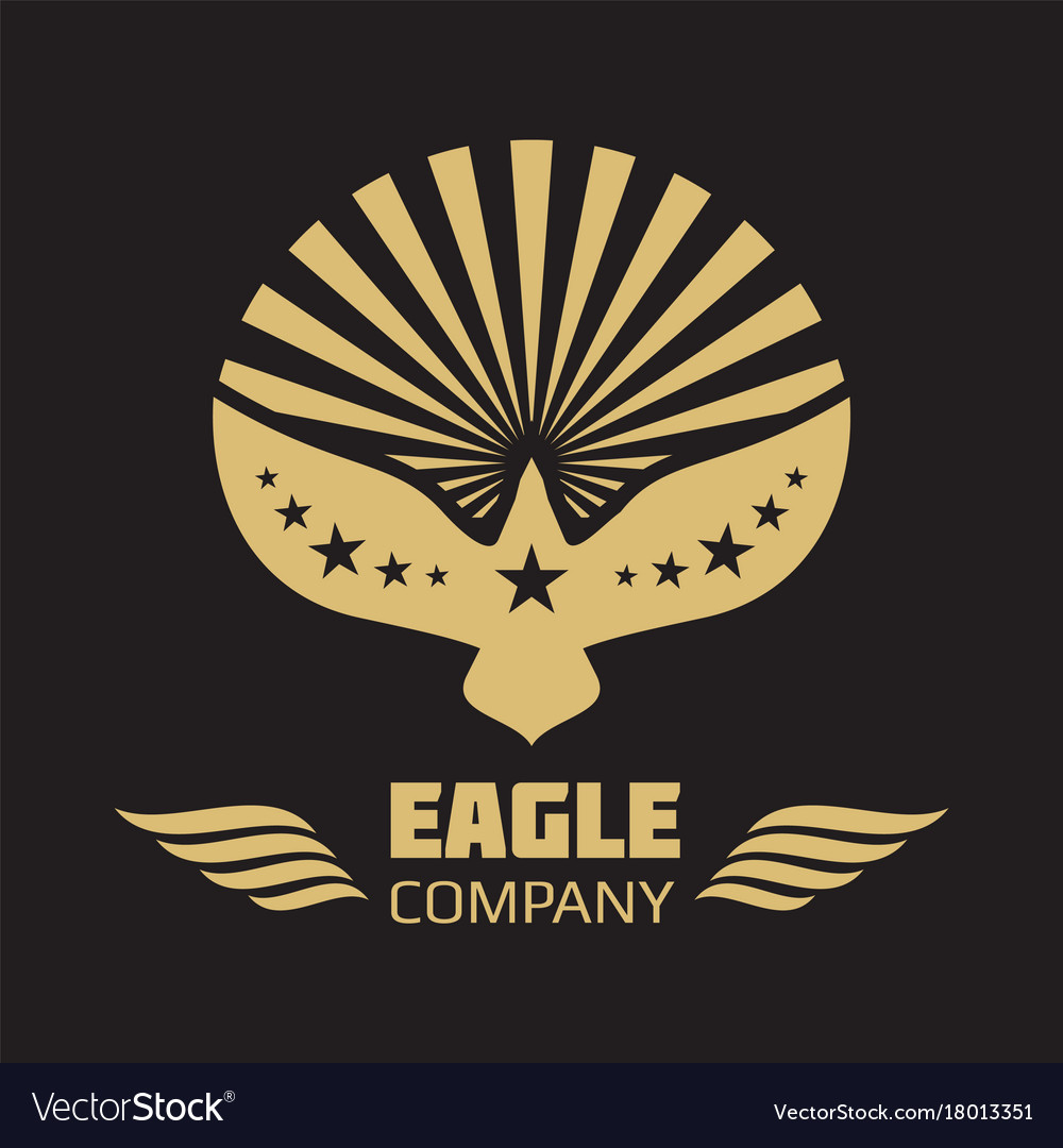 Heraldic eagle logo on black background