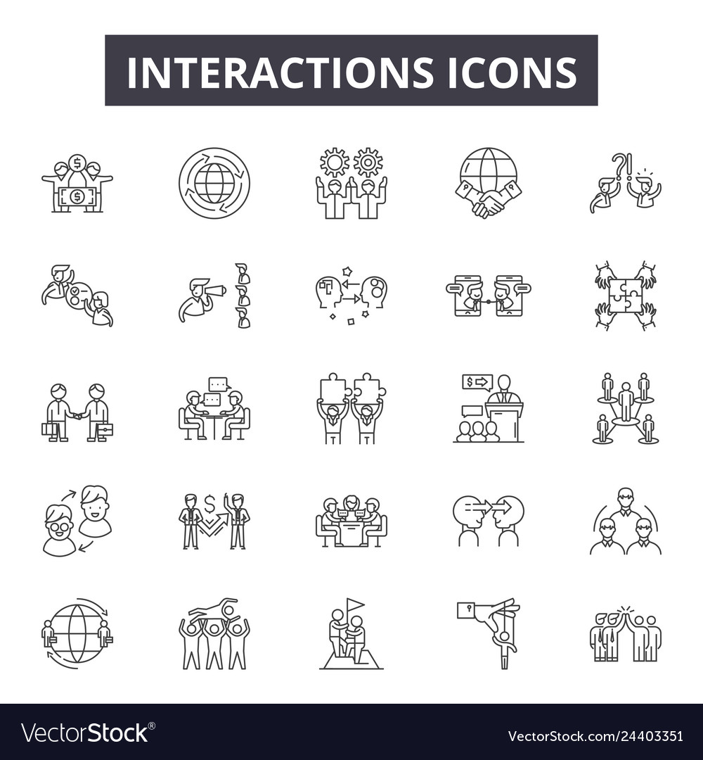 Interactions line icons for web and mobile design