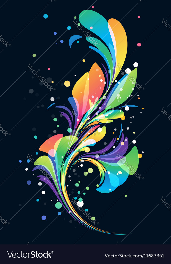 Multicolored abstract floral element on black back