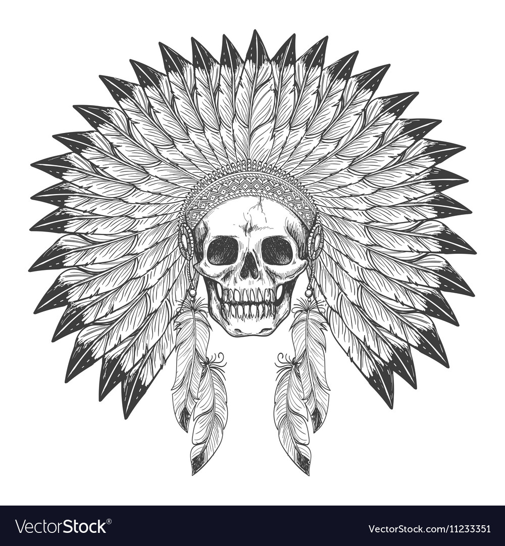 Native american indian skull with headdress vector image