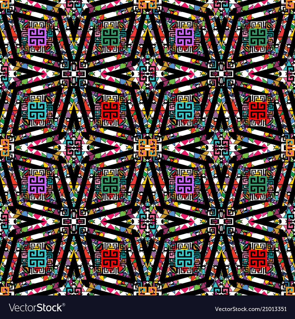 Ornamental colorful greek seamless pattern