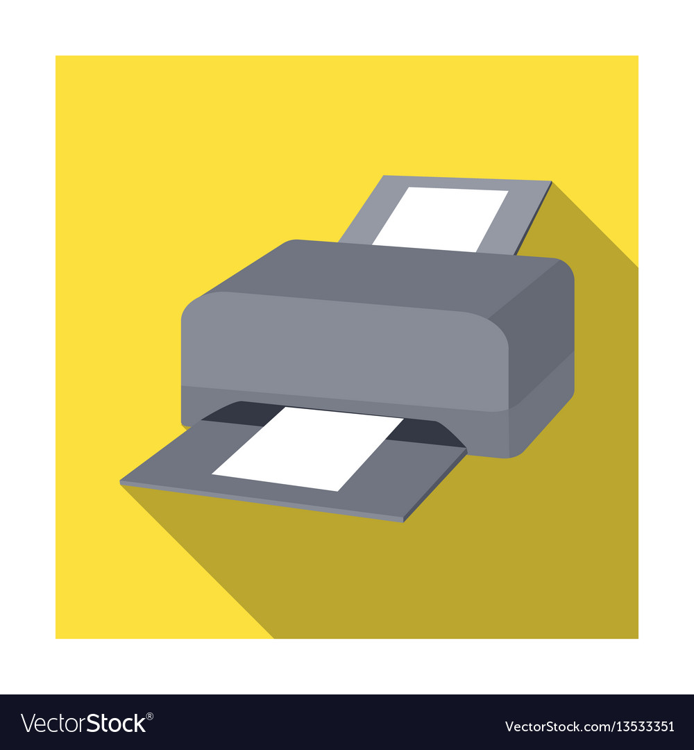 Printer icon in flat style isolated on white