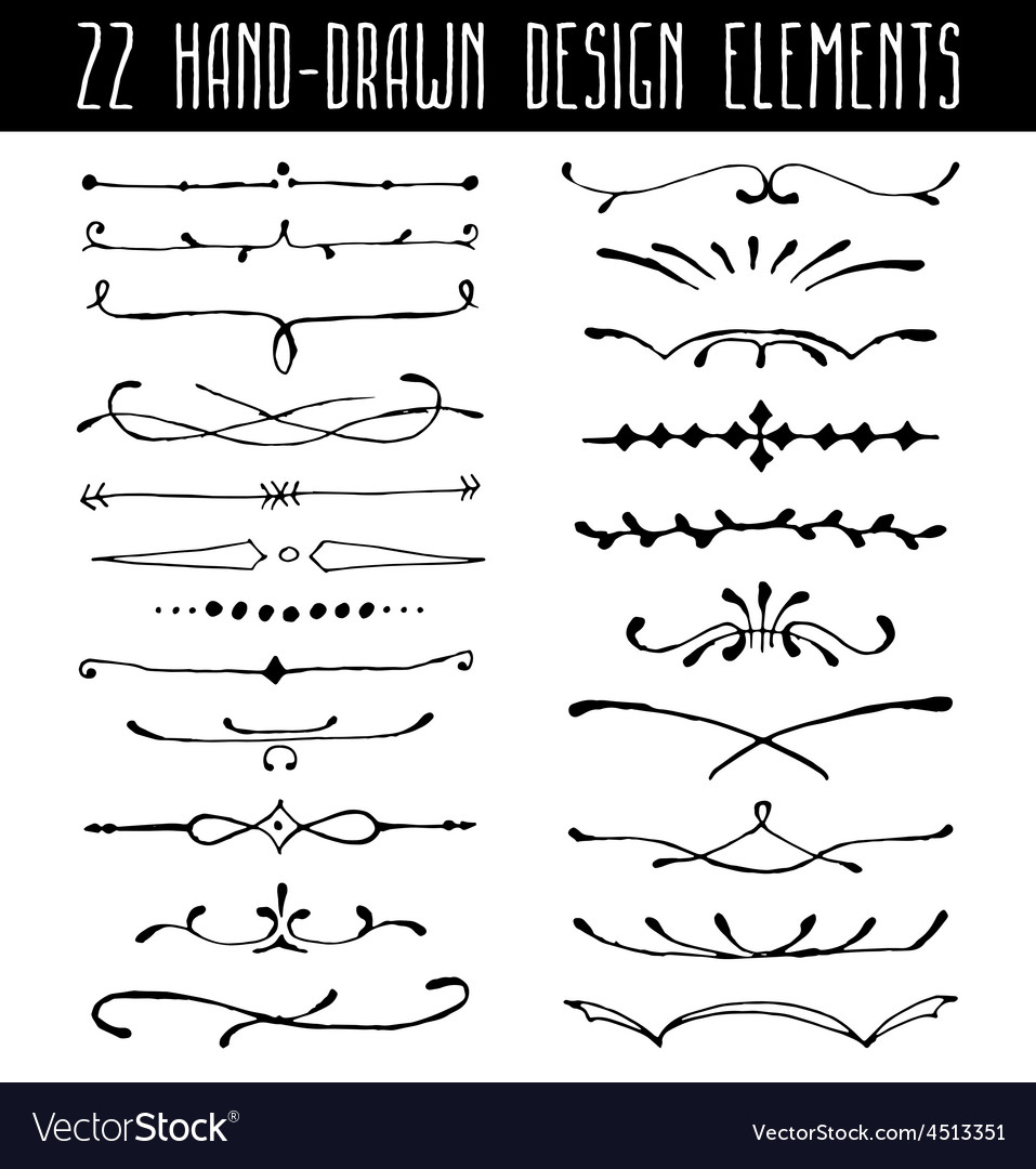 Set of hand-drawn line border dividers and design