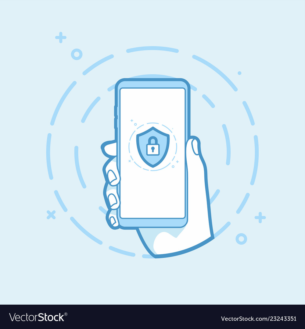 Shield with padlock icon on smartphone screen