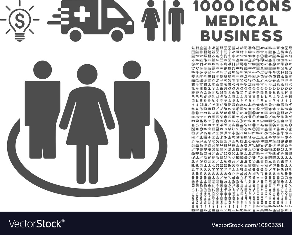 Society Icon with 1000 Medical Business Symbols vector image