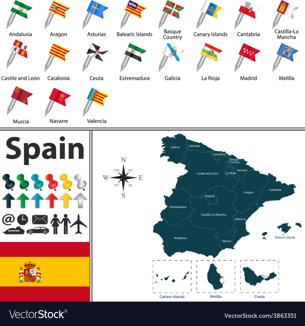 Spain map with flags royalty free vector image spain map with flags vector image gumiabroncs Image collections