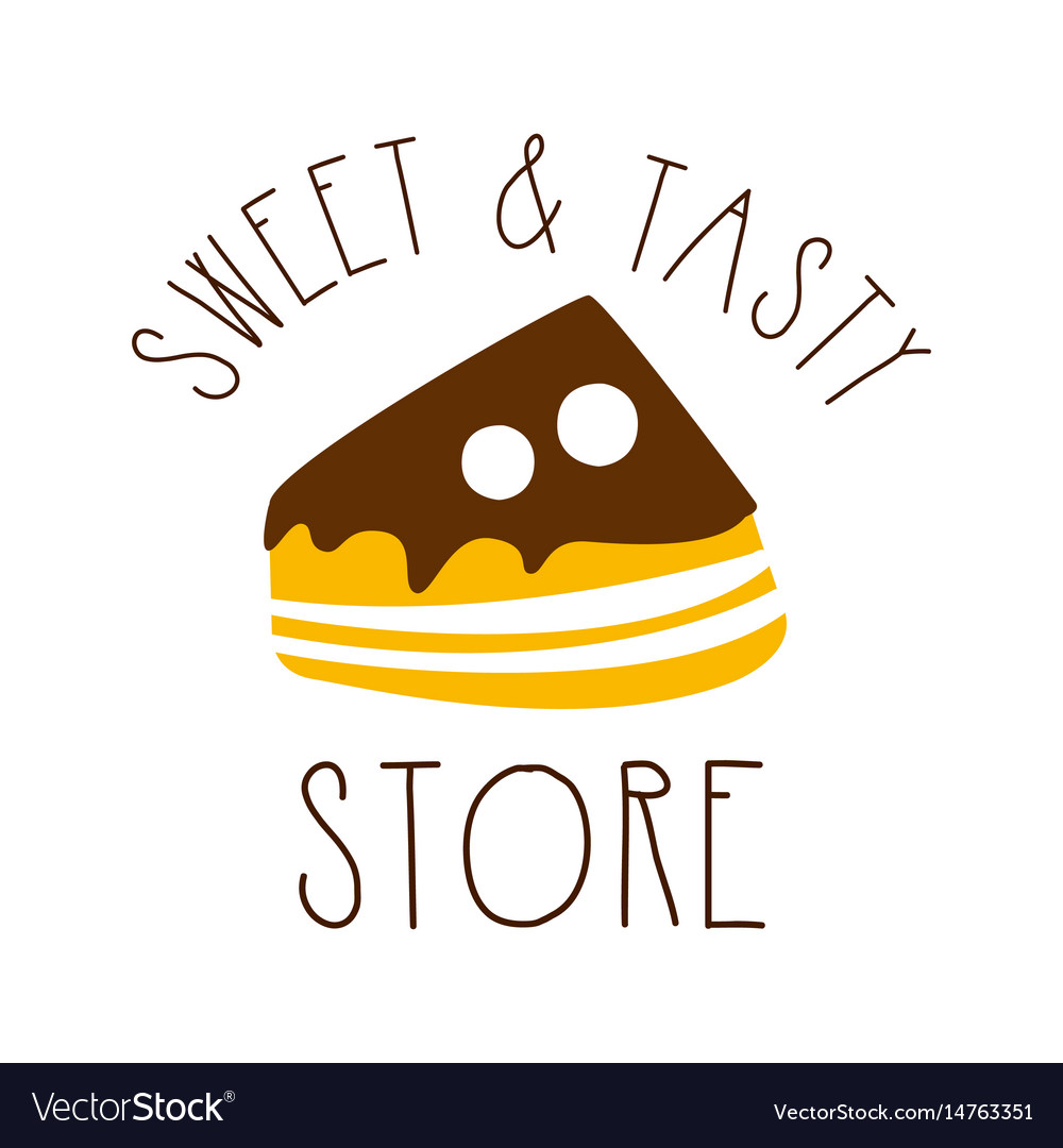 Sweet and tasty store colorful hand drawn label