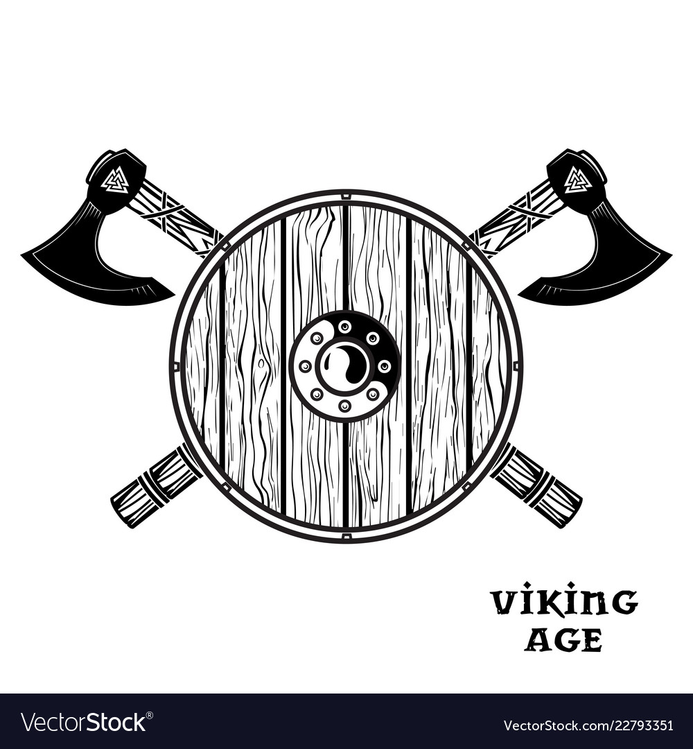 Two crossed battle viking axes and viking shield