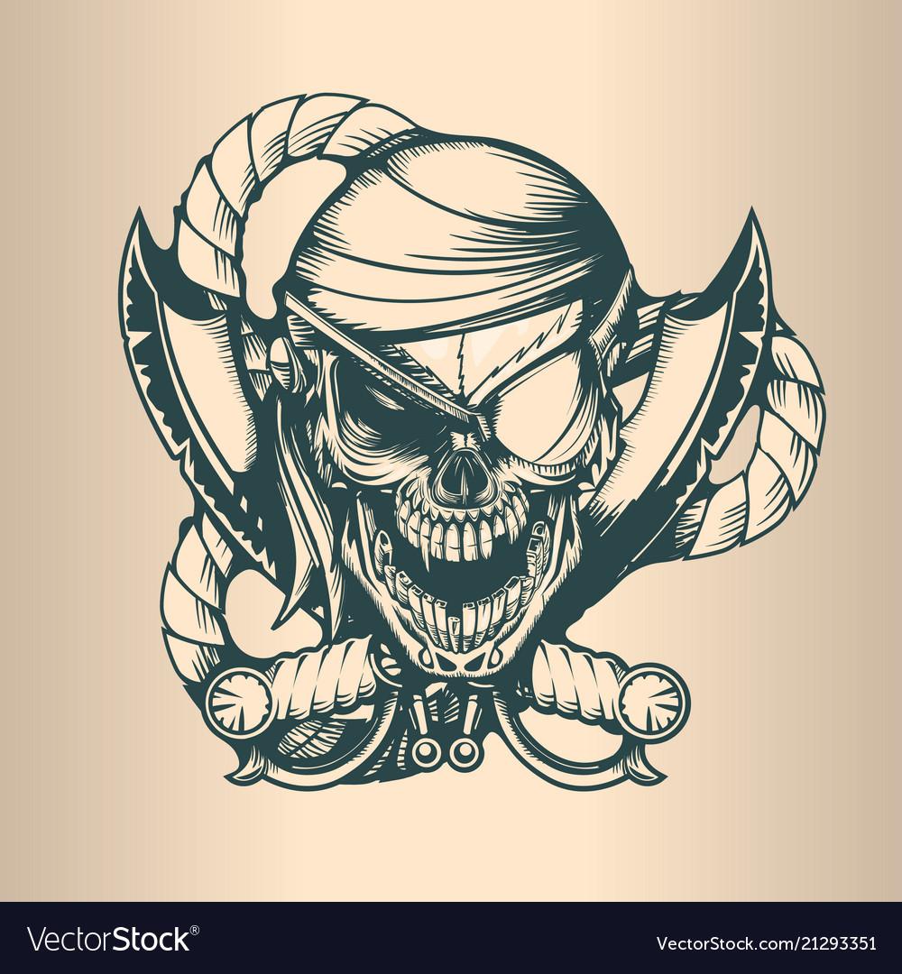 Vintage pirate skull monochrome hand drawn tatoo