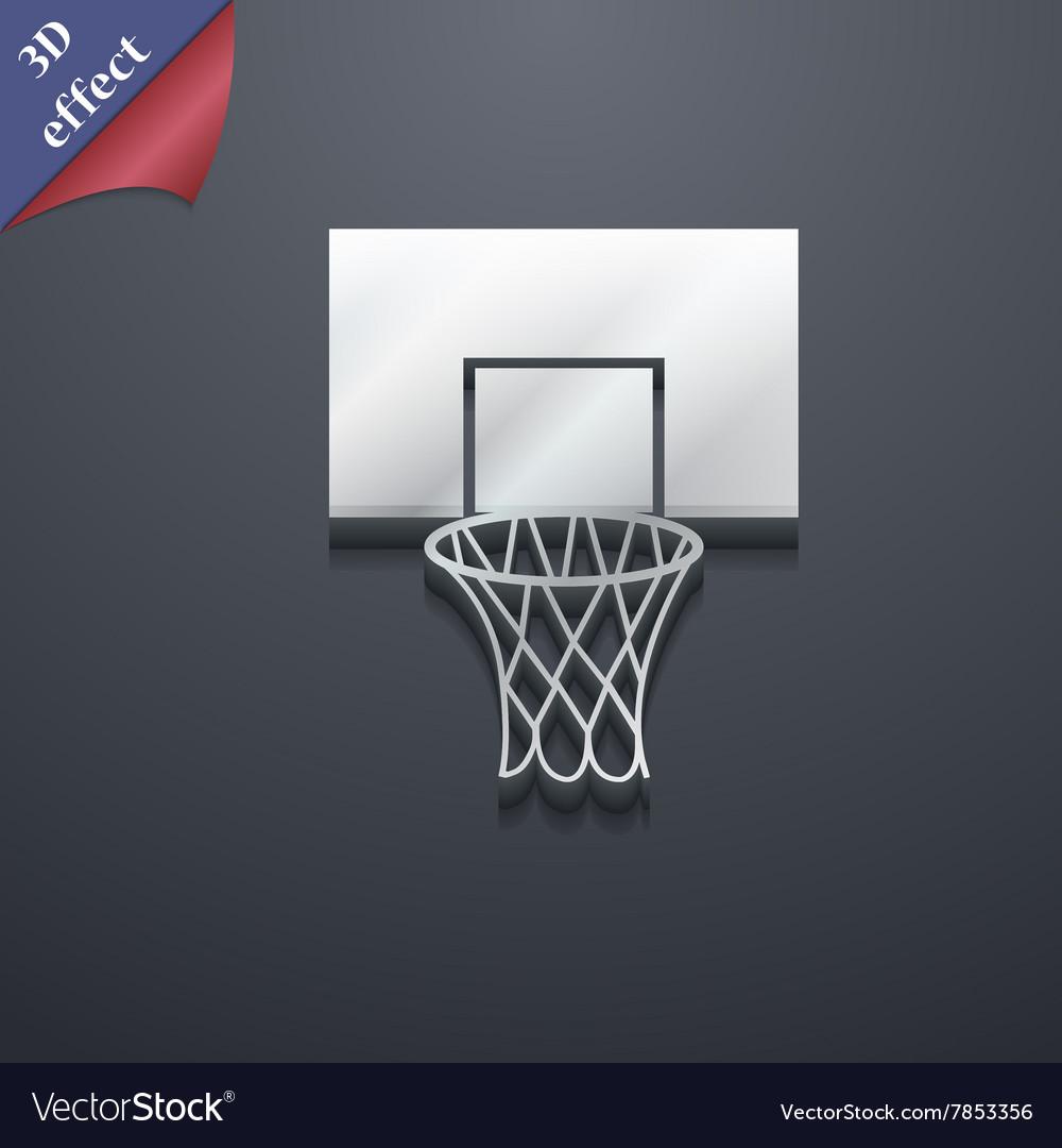 Basketball backboard icon symbol 3D style Trendy vector image